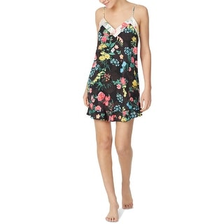 Link to Betsey Johnson Women's Floral-Print Chemise Nightgown, Black, L Similar Items in Intimates