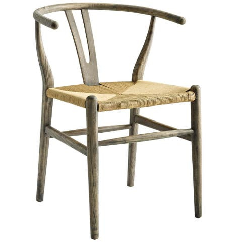 Amish Retro Weathered Grey Wood Side Dining Chair