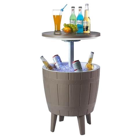 Nuzanto 37L/39.2Qt/9.8Gallon Wood Texture LED Beer Wine Ice Cooler