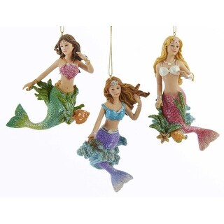 Beautiful Young Glittery Mermaids Christmas Holidays Ornaments Set of 3