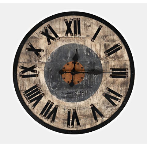 Wayland Jackson Solid Wood Natural and Grey 24-inch Clock by Jofran
