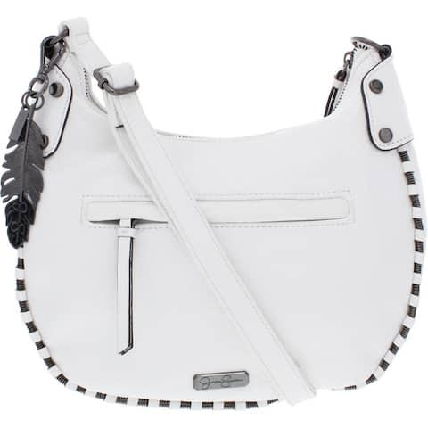 Jessica Simpson Selena Women's Faux Leather Embellished Adjustable Signature Crossbody Handbag - Gardenia - Medium