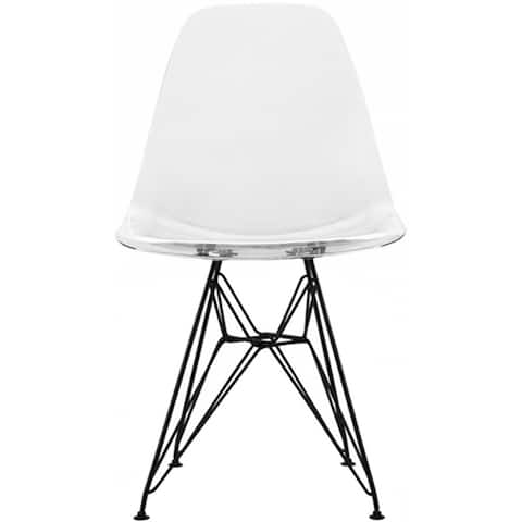 2xhome Modern Plastic Accent Designer Side Dining Matte ChairWith Dark Black Wire Chrome Legs Base
