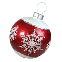 "26.5"" LED Lighted Red Ball Christmas Ornament with Snowflake Outdoor Decoration"
