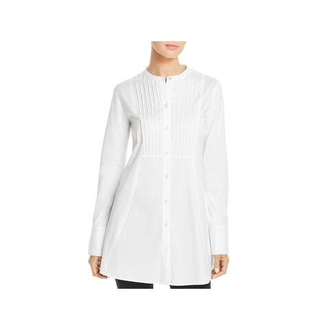 Donna Karan Womens Tunic Top Pintuck Button-Down