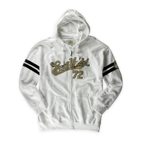 Ecko Unltd. Mens Baseball Sarpt Zip Hoodie Sweatshirt, White, X-Small