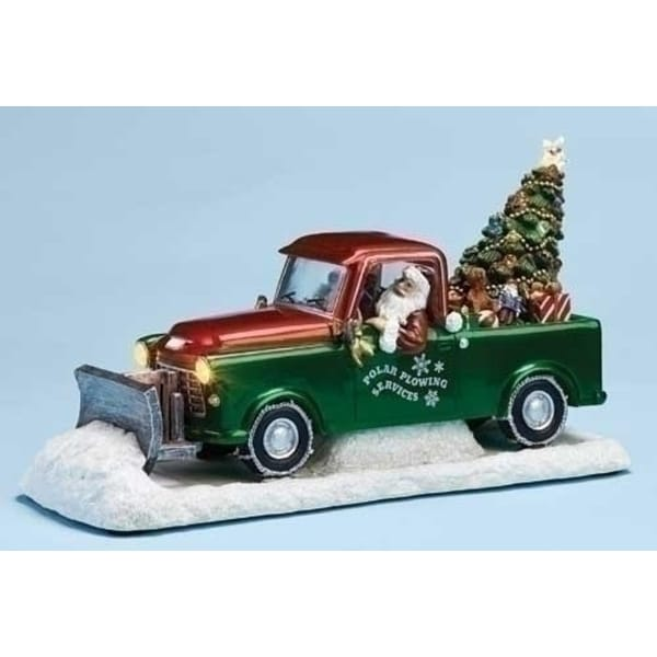 """11"""" Musical LED Lighted Polar Plowing Truck with Santa Claus and Tree Decoration"""