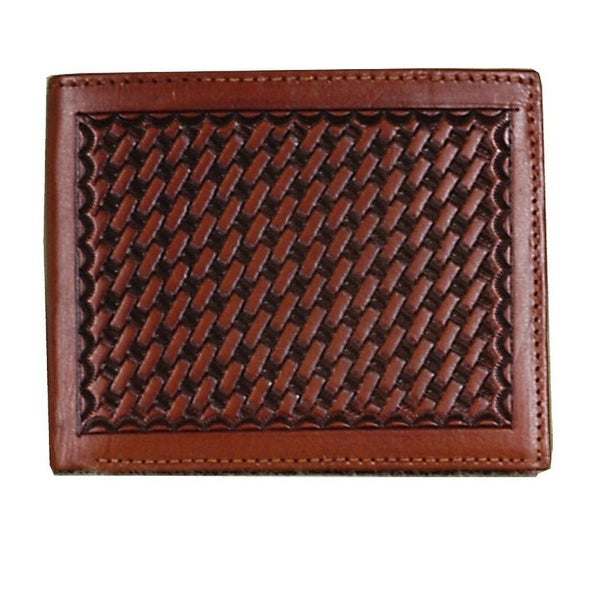 3D Western Wallet Mens Leather Bifold Basketweave Tan - One size
