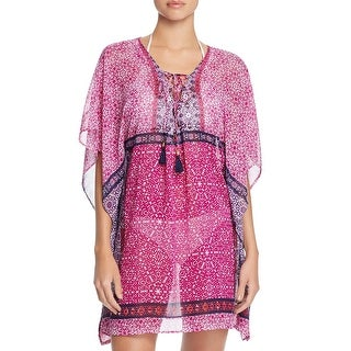 Tommy Bahama Womens Printed Lace Up Caftan Swim Cover-Up - L/XL