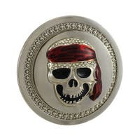 Spinning Red Bandanna Skull Rhinestone Belt Buckle
