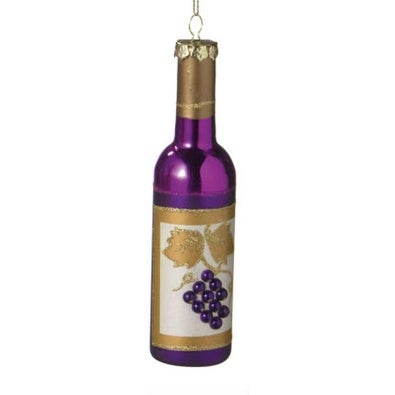 "6"" Tuscan Winery Purple Frosted Grape Wine Bottle Christmas Ornament"
