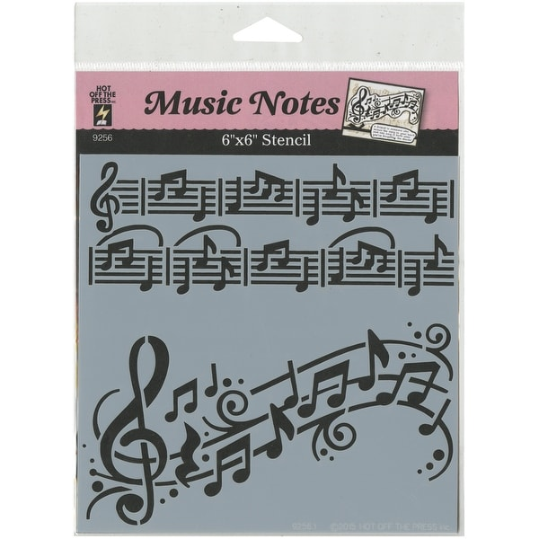 "Hot Off The Press Stencils 6""X6""-Music Notes"