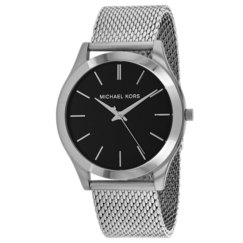 Michael Kors Mens Silm Runway Black Dial Watch