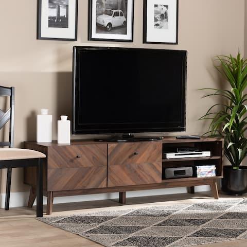 Hartman Mid-Century Modern Walnut Brown Finished Wood TV Stand