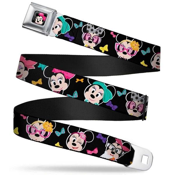 Mini Minnie Mouse Face Close Up Full Color Black Mini Minnie Expressions Seatbelt Belt