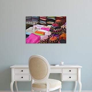 Easy Art Prints Adam Jones's 'Colorful Head Wear In Bazaar At Luxor' Premium Canvas Art