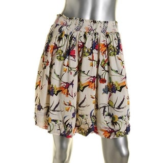 Essentiel Womens Printed Smocked A-Line Skirt