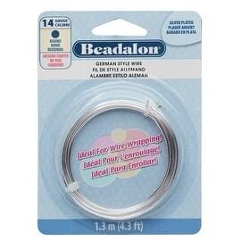Beadalon Craft Wire, German Style Round Copper Wire 14 Gauge, 4.3 Feet, Silver Plated