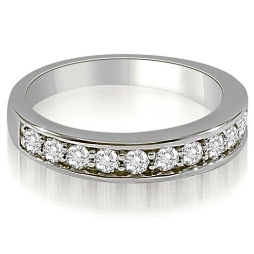 0.65 cttw. 14K White Gold Classic Round Cut Diamond Wedding Ring