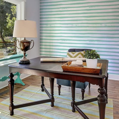 Blue Striped Peel and Stick Removable Wallpaper 2414