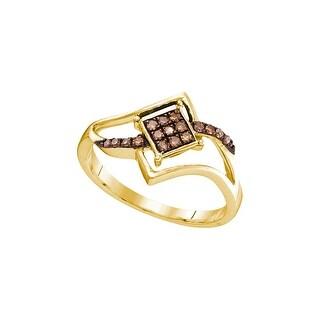 1/6Ctw Cognac Diamond Fashion Ring - White