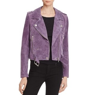 Blank NYC Womens Motorcycle Jacket Suede Asymmetric