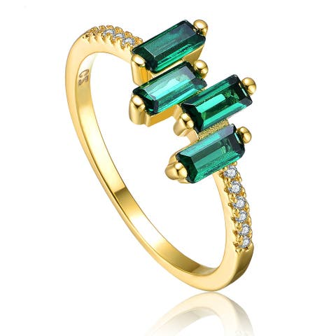 Collette Z Sterling Silver 14K Gold Plated and Emerald Cubic Zirconia Modern Ring