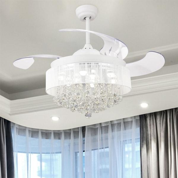 White Chandelier Ceiling Fan: Shop Modern Crystal Fandelier Retractable 4-Blades LED