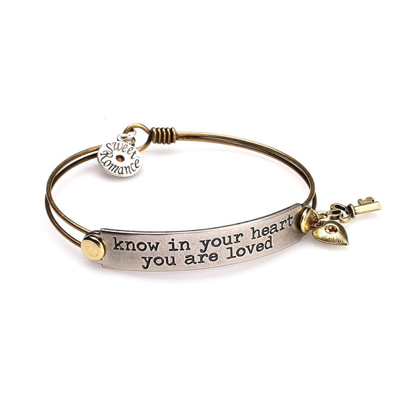 Women's Inspirational Message Brass Bracelet with Charms - Know In Your Heart