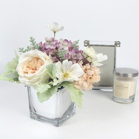 G home collection luxury white rose cosmos and purple mixed flower g home collection luxury white rose cosmos and purple mixed flower arrangement free shipping today overstock 21242850 mightylinksfo Images