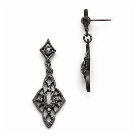 Black IP Downton Abbey Black Glass Post Fleur Drop Earrings