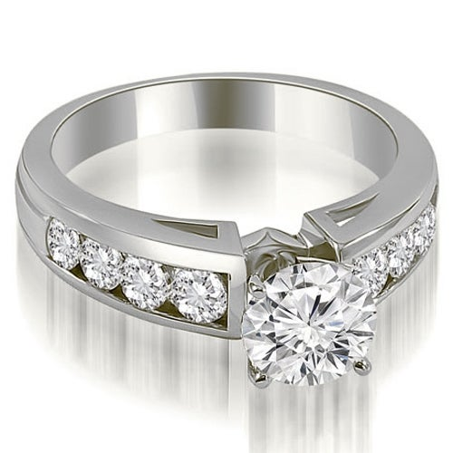 1.55 cttw. 14K White Gold Classic Channel Round Cut Diamond Engagement Ring