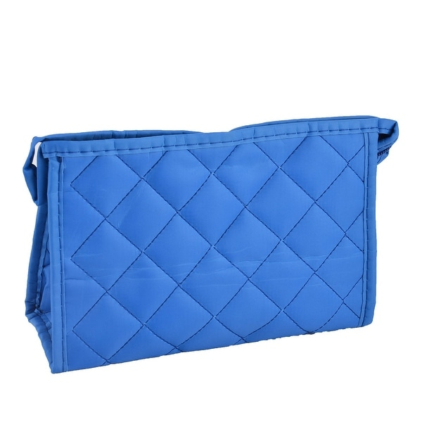 52af93f07f11 Lady Polyester Rectangle Rhombus Pattern Toiletry Makeup Cosmetic Bag Pouch  Blue