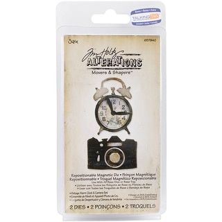 Sizzix Movers & Shapers Magnetic Dies By Tim Holtz 2/Pkg-Vintage Alarm Clock & Camera