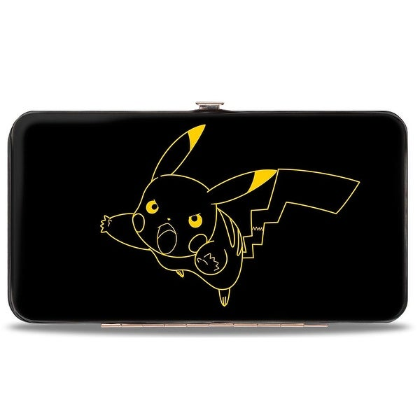 Pikachu Outline Tackle + Pose Black Yellow Hinged Wallet - One Size Fits most