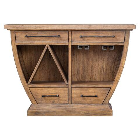 """Uttermost 25447 Aleph 46"""" Wide 4 Drawer Java Wood Bar/Wine Cabinet - Distressed Fruitwood"""