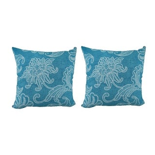 Set of 2 Turquoise & White Sea Flower Indoor/Outdoor Throw Pillows