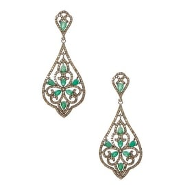 Genuine Diamond and Emerald Earring in sterling silver and white diamonds
