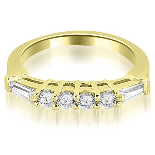 0.50 cttw. 14K Yellow Gold Baguette and Round Diamond Wedding Band