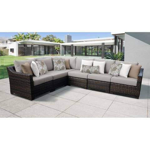 kathy ireland River Brook 6 Piece Outdoor Wicker Patio Furniture Set 06v