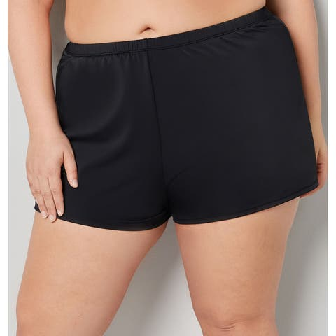 AVENUE Women's Black Swim Short With Thigh Concealer