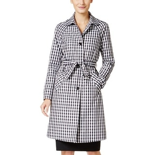 Anne Klein Womens Trench Coat Water Resistant Gingham - 14