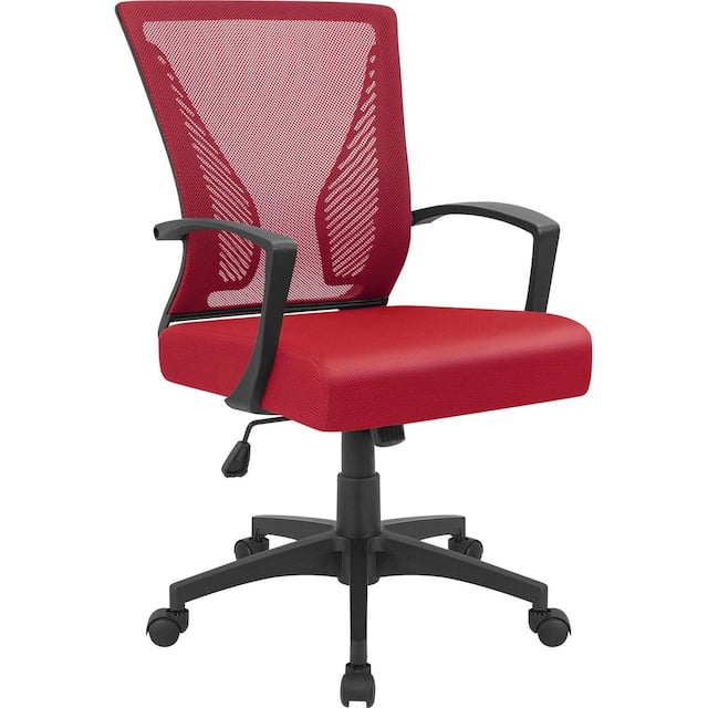 Office Chair Mid Back Swivel Lumbar Support Desk Chair, Computer Ergonomic Mesh Chair with Armrest - Red