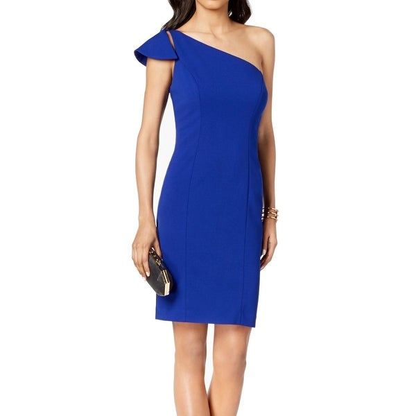 03bb95fe43 Shop Vince Camuto Blue Womens Size 8 Ruffle One-Shoulder Sheath ...