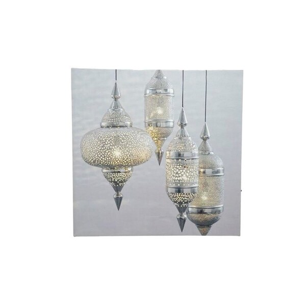 "LED Lighted Moroccan Inspired Hanging Finial Ornaments Christmas Canvas Wall Art 11.75"" x 11.75"""