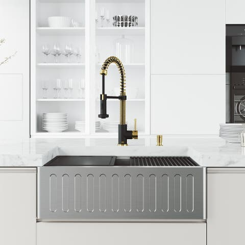 VIGO Matte Stone Kitchen Sink and Faucet in Matte Gold and Black