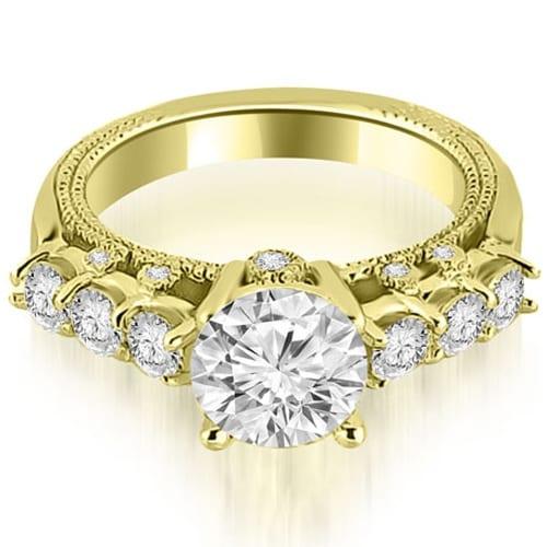 0.95 cttw. 14K Yellow Gold Milgrain Round Cut Diamond Engagement Ring