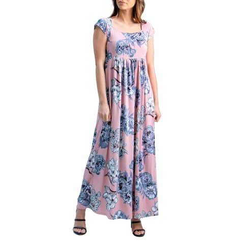 24seven Comfort Apparel Rose Pink Pleated Empire Waist Maxi Dress, R0046037MGR, Made in USA