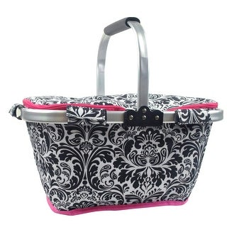 "19"" Black, White and Pink Damask Insulated Market Basket Tote"