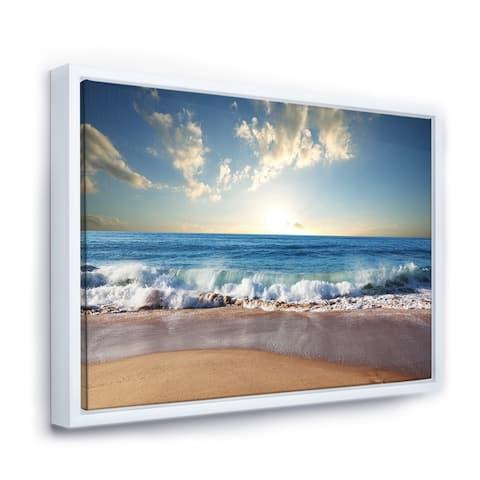 Designart 'Sea Sunset' Seascape Photography Framed Canvas Art Print